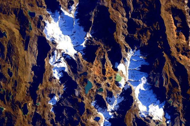 Andes Mountains in Peru from space