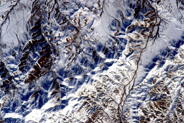 Snowy foothills of Iran from ISS by Astronaut Scott Kelly on February 22, 2016.
